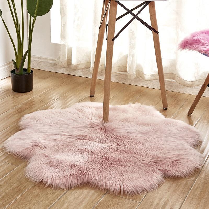 Tapis en peluche en forme de fleur tapis solide antidérapant rose blanc pour la maison salon tapis de bain tapis de zone 90cm tapis tapete para sala