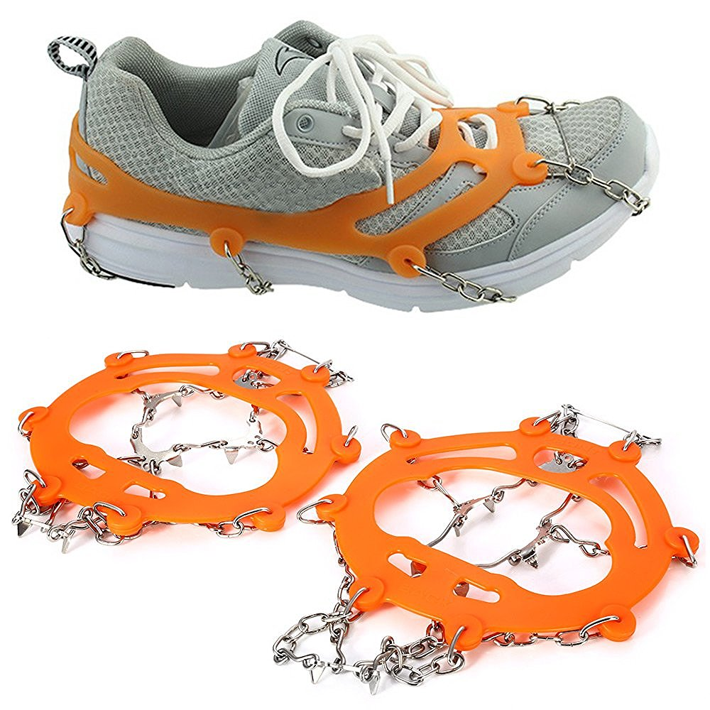 Free shippng 1pair Walking Cleat Ice Gripper Anti Slip Ice Snow Walking Shoe Spike Grip Camping Climb Ice Crampons Ice