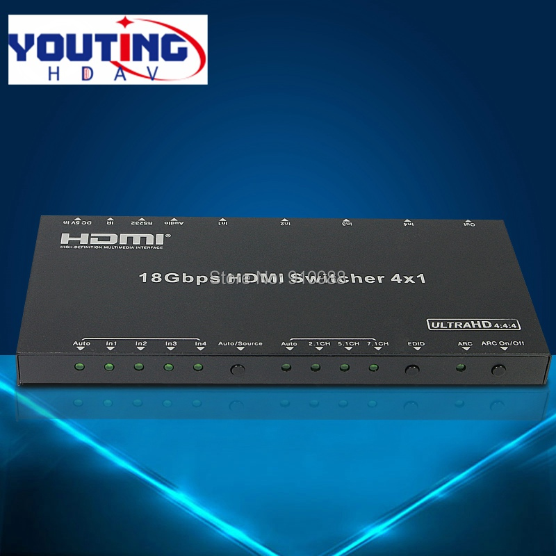 YOUTINGHDAV hdmi2.0v Swithcer 4x1 4kx2k60hz hdcp2.2 5.1ch ARC Support input port auto switching or manual switch mode