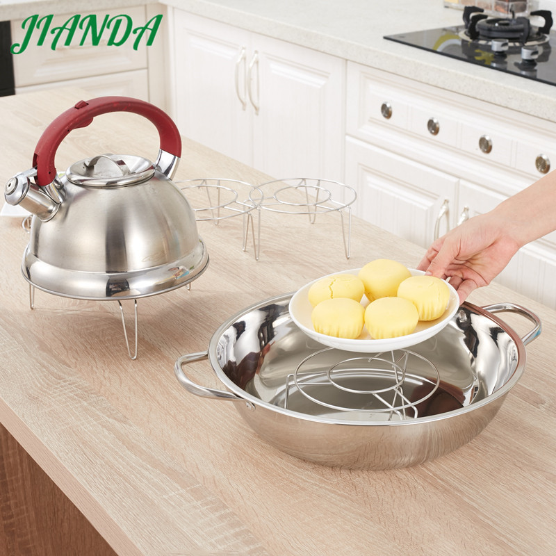 JIANDA High-Quality Pot Steamer Cookware Round Stainless Steel Steamer Rack Insert Stock Pot Steaming Tray Stand Cookware Tool