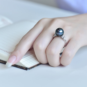 Image 4 - YS 18 k 純金海水真珠のリング 11 12 ミリメートル黒真珠リングタヒチパールウェディングリング