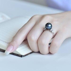 Image 4 - YS 18 k Solid Gold ze słoną wodą pierścionek z pereł 11 12mm czarny pierścionek z pereł Tahitian Pearl Wedding Ring