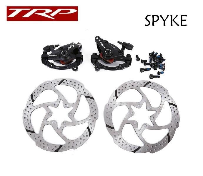 TRP Spyke VTT Vélo Mechancial Disque De Frein Ensemble Avant + Arrière Noir avec 2x160mm Rotors le lecteur Bilatéraux frein à disque mécanique