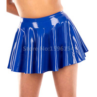 Rubber Latex Women Mini Skirt A Line Solid Colour Rubber Casual Skirts LD232