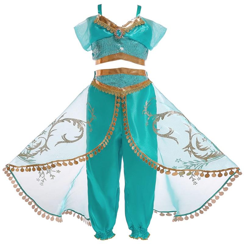 Girl Summer Jasmine Princess Costume Suit Halloween Aladdin magic lamp Kid performance Costume sequined Top Skirt Pant 2 Sets