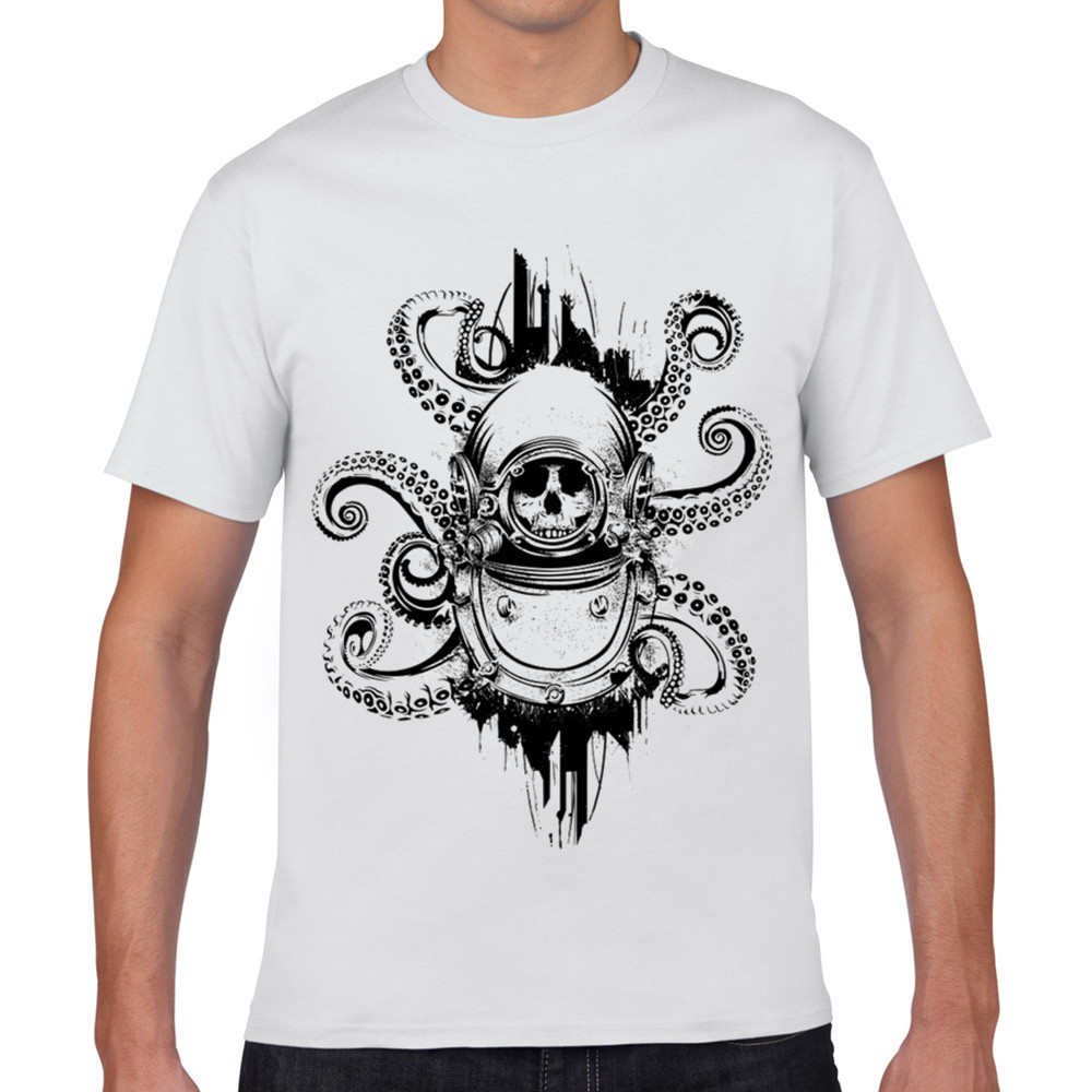 Shirt design octopus - White Funny T Shirt Cartoon For Men 3d Homme The Octopus Print For Man 2017 Fashion