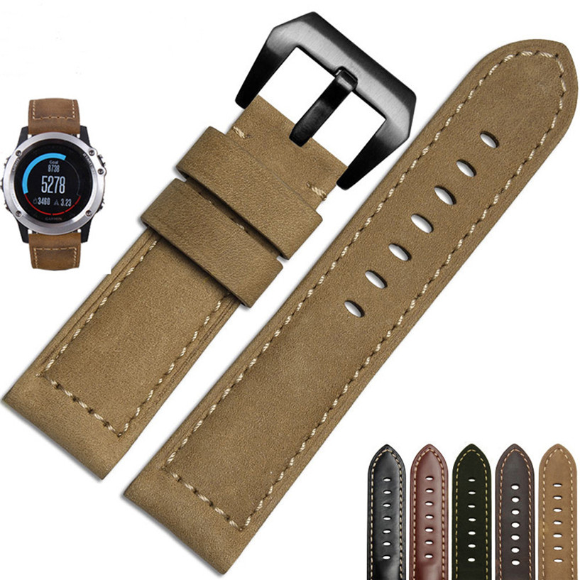 Fabulous Genuine Leather Watch Replacement Band Strap + Lugs Adapters For Garmin Fenix 3 / HR wholesale No25 jansin 22mm watchband for garmin fenix 5 easy fit silicone replacement band sports silicone wristband for forerunner 935 gps