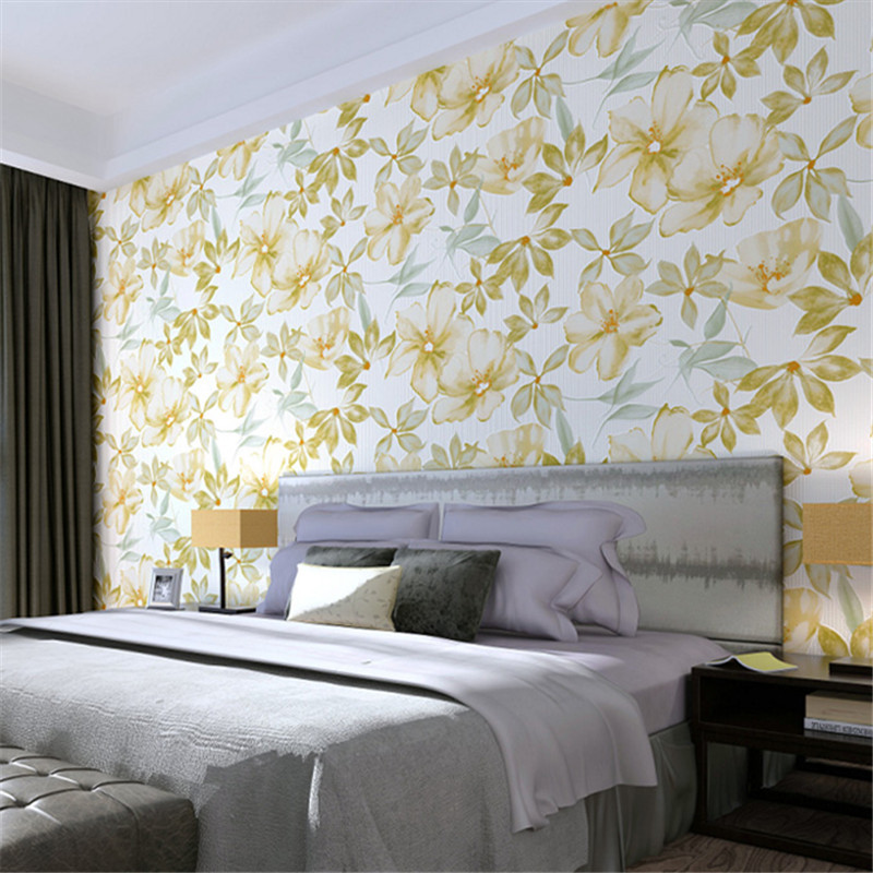 beibehang American style flowers non - woven wallpaper AB restaurant living room TV background wall paper flowers type non woven bubble butterfly wallpaper design modern pastoral flock 3d circle wall paper for living room background walls 10m roll