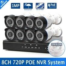 Completa 8CH 720 P NVR POE Kit 8 UNIDS 1.0MP Impermeable IR 1.0MP P2P IP Cámara Al Aire Libre Sistema de Video Vigilancia CCTV Seguridad Para El Hogar Conjunto