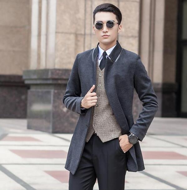 Single Men Black Coat Breasted Manteau 2018 Wool Homme Grey Korean 8AwwCxHqO