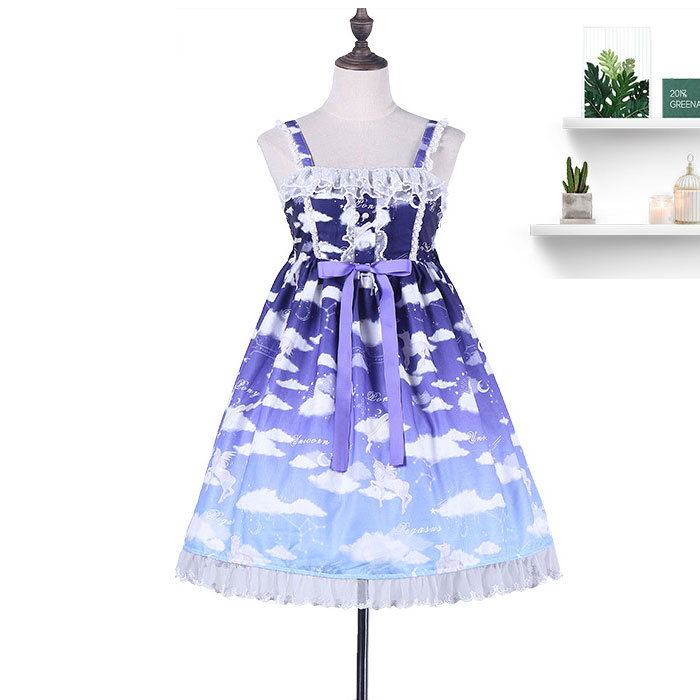 Floating White Clouds Mori Girl Casual Lolita Dress Printed Sleeveless Dress