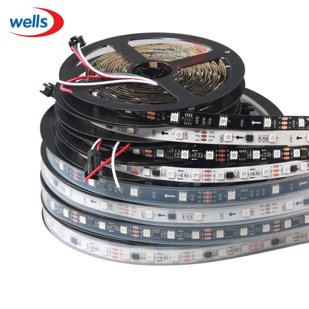 LED 5M WS2811 Strip Light DC12V Vodotěsný IP67 / Neodolný IP30 RGB Adresovatelný 30 48 60 LEDs / M pixelový pás 1 IC na 3 LED