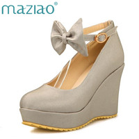 MAZIAO Big size 30 50 woman Wedges High heels platform Buckle Spring shoes for ladies Casual Sweet 4 Color butterfly knot Shoes