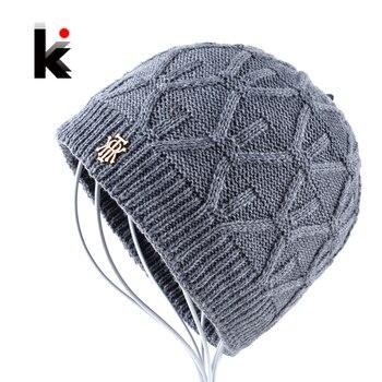 2018 Winter beanies knitted hat mens skullies triple layer fabrics warm casual cap bonnet plus velvet hants for men beanie 1