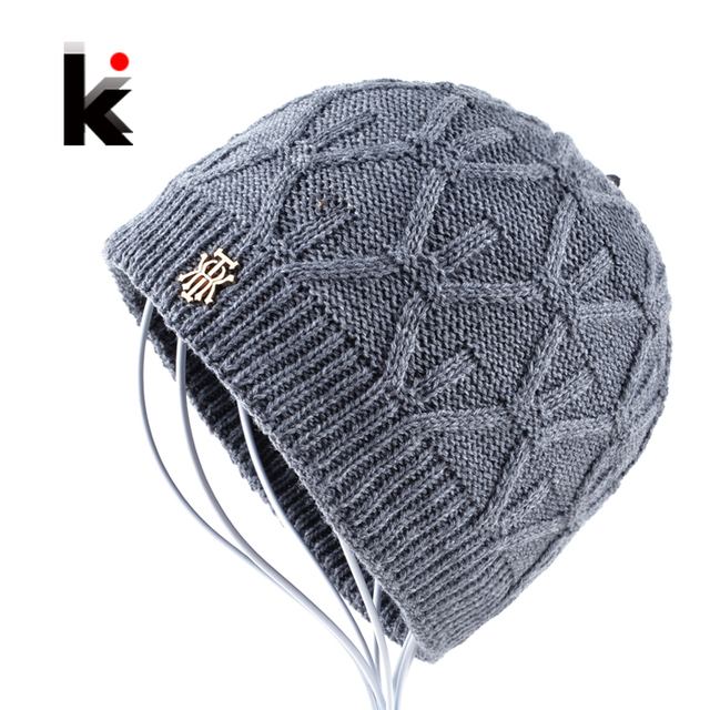 a6815643477 2018 Winter beanies knitted hat mens skullies triple layer fabrics warm  casual cap bonnet plus velvet hants for men beanie