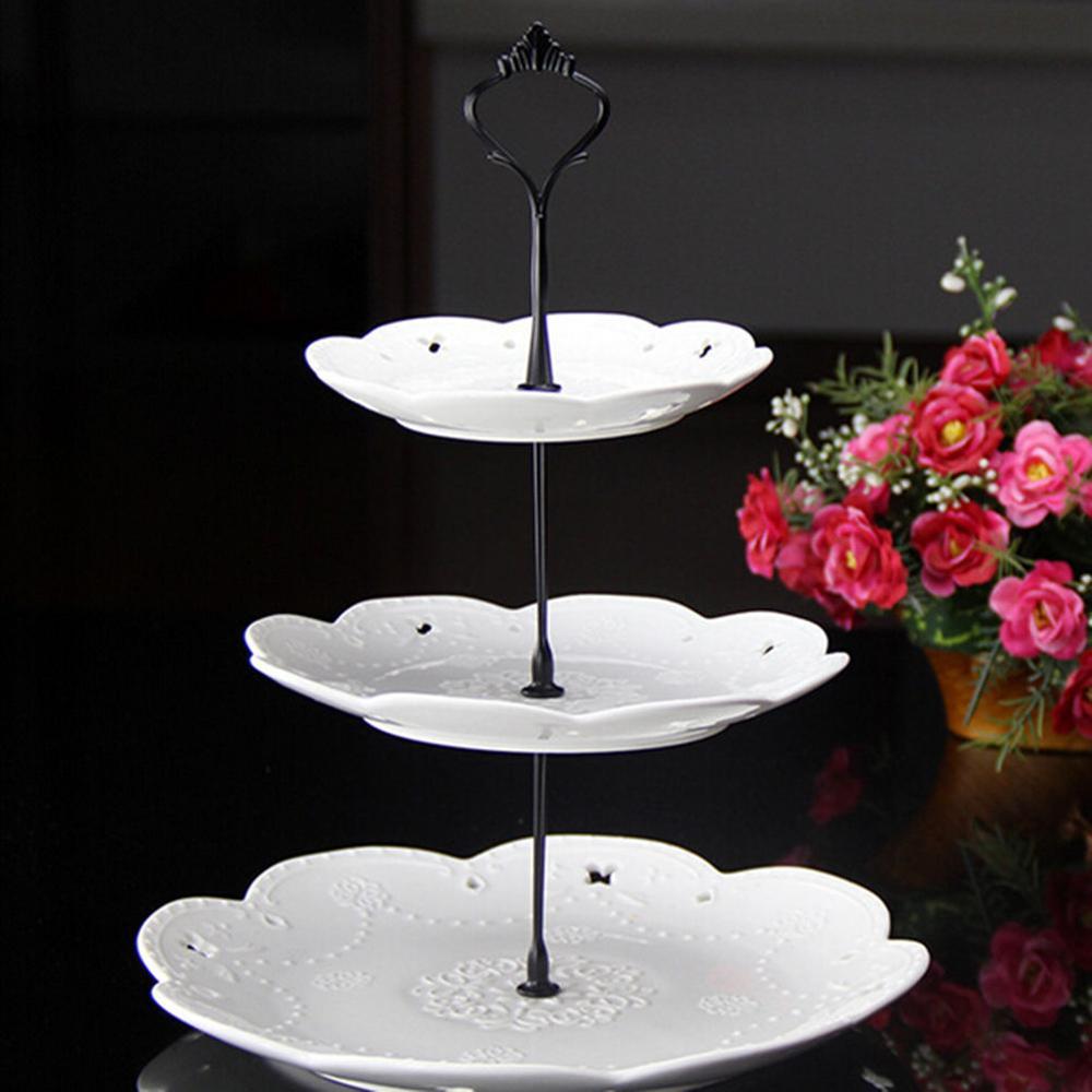 Новинка, 6 цветов, 2 или 3 яруса для торта, пластина, подставка, ручка, корона, металлическая, для свадебной вечеринки, серебро, золото, быстрая - Цвет: 3 tie black