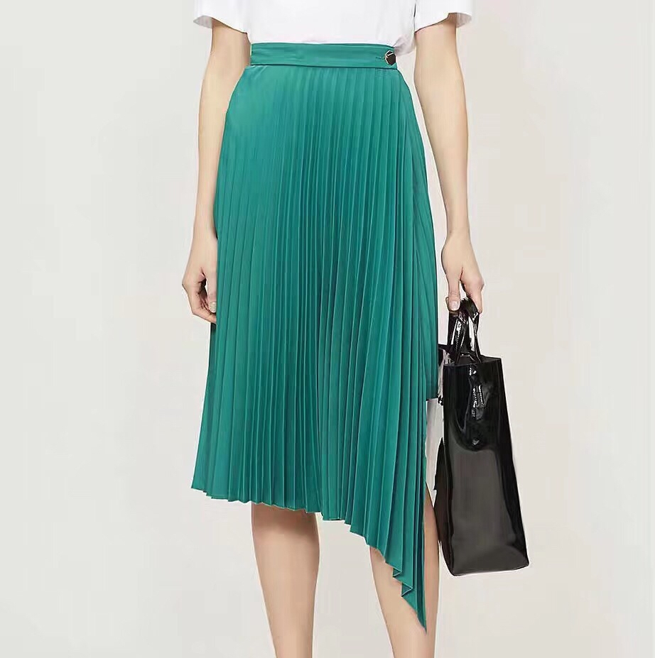 Women Pleated Green Skirt 19 Spring Summer High Waist Solid Color Casual Ladies Pleated Mid-calf Skirt With Belt