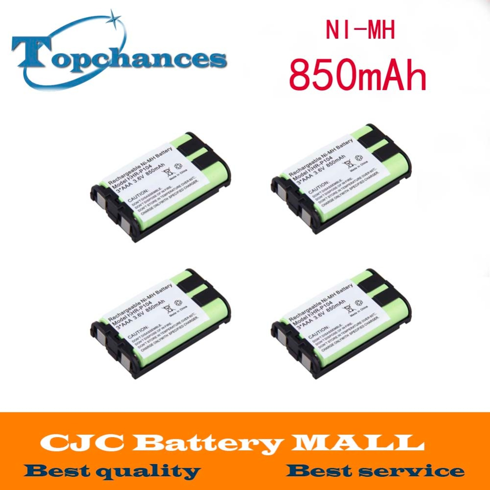 Free Shipping 4pcs Ni-mh 850mah 3.6v 3*aaa Hhr-p104 Hhr-p104a/1b Rechargeable Cordless Home Phone Battery For Panasonic Year-End Bargain Sale Replacement Batteries