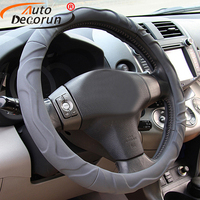 AutoDecorun Sheepskin Car Steering Wheel Cover For VOLVO XC60 XC90 XC70 V40 V60 C30 C70 S60