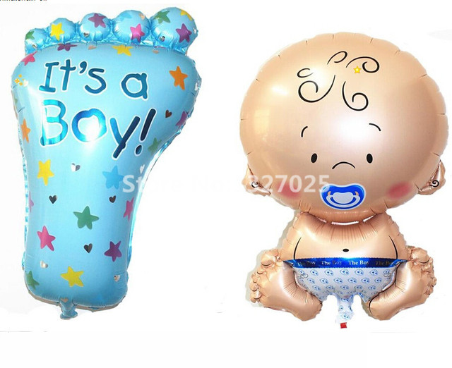 New 2pcs Lot Baby Foot Boy Foil Balloons 1st Birthday Party Decoration
