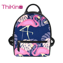Thikin 2019 New 3D Printing Flamingo Backpack for Women Girls PU Mini Cute Leather Schoolbag Student Preppy Style Bag