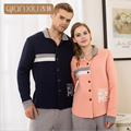 2017 Spring Brand New Homewear Couples Casual Pajama sets Men Cotton Turn-down Collar Sleepwear suit Male patchwork coat + pants