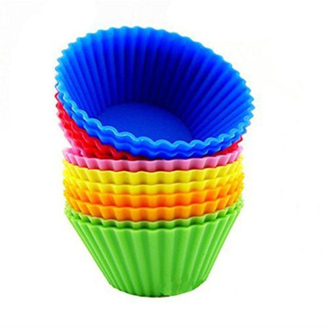 12pcs Silicone Baking Cups Cupcake Liners Vibrant Muffin Molds in