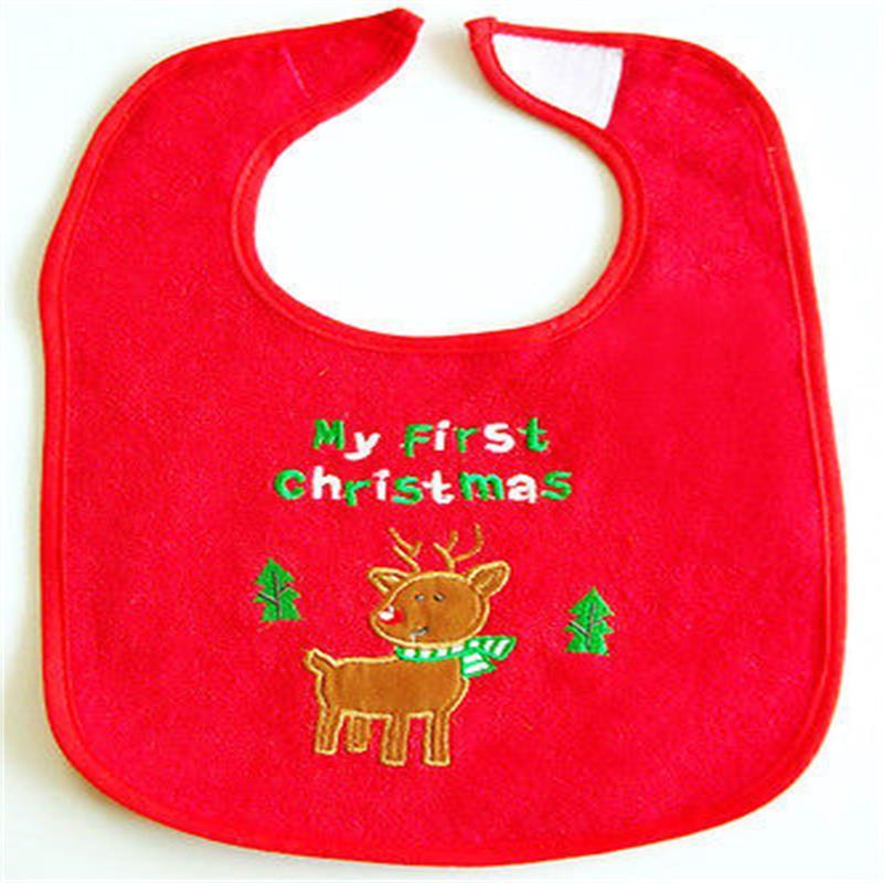 Hot Creative First Christmas Baby Bib Waterproof back Red Reindeer
