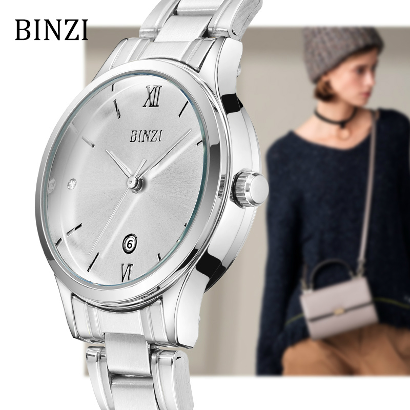 Women Watches BINZI Quartz Ladies Wrist Watch 2018 Bracelet Fashion Relogio Feminino Montre Femme Female Clock Silver Wristwatch sinobi ceramic watch women watches luxury women s watches week date ladies watch clock montre femme relogio feminino reloj mujer