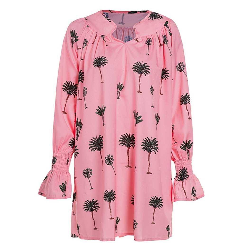 Новое свободное плиссированное платье с v-образным вырезом женское богемное Плиссированное Платье с принтом пальмы повседневное праздничное платье с длинным рукавом