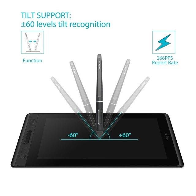 Huion kamvas pro 12 GT-116 tablet digital bateria-livre caneta exibição desenho tablet monitor com função de inclinação ag barra de toque de vidro 1
