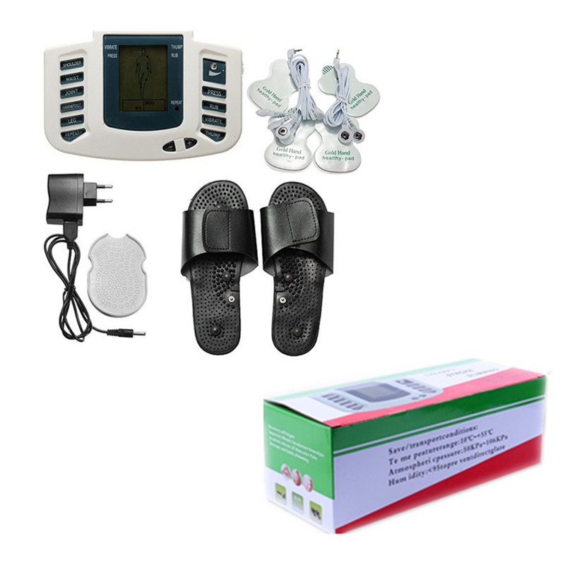 Whole Body Therapy Massager Tens Unit Machine Electronic Pulse Relax Muscle Stimulator + Foot Massage Slippers Box Packing hot electric slimming full body relax pulse muscle stimulator tens therapy machine massager vibrateur with 20pcs tens pads