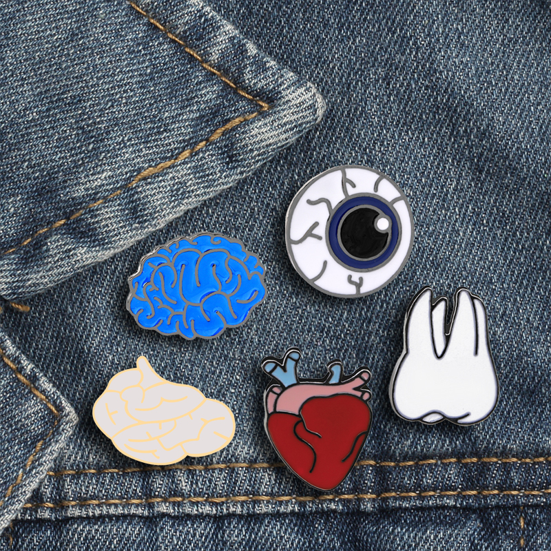 5 Style Internal Medicine Doctor Mold Badge Brain Systerm Heart Teeth Eye Brooches For Medical Enthusiasts Nurse Teacher Gifts(China)