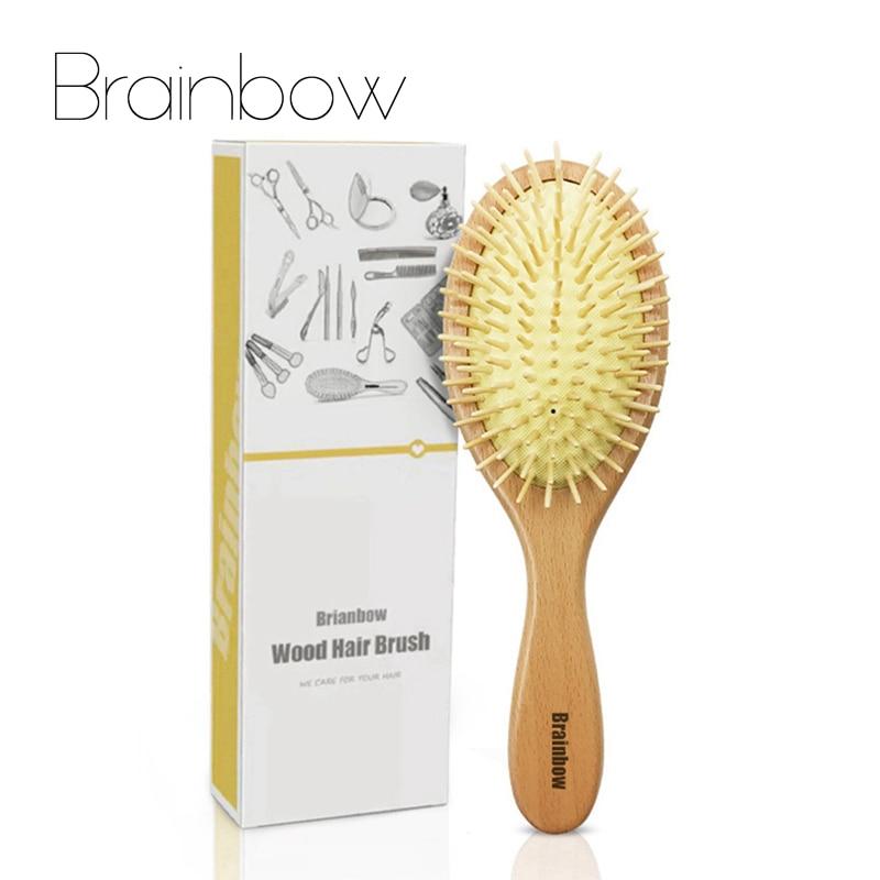 Brainbow peine de madera cuero cabelludo masaje cepillo de madera Natural aguja saludable peine antiestático cojín pelo cepillo de cuidado del cabello de herramientas de peinado