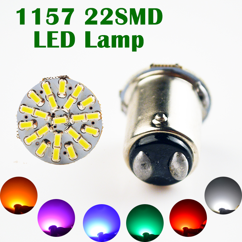 1157 22SMD P21W BAY15D Red White Green Yellow Blue Pink Car LED Bulb 12V Auto Lights (1 PCS)