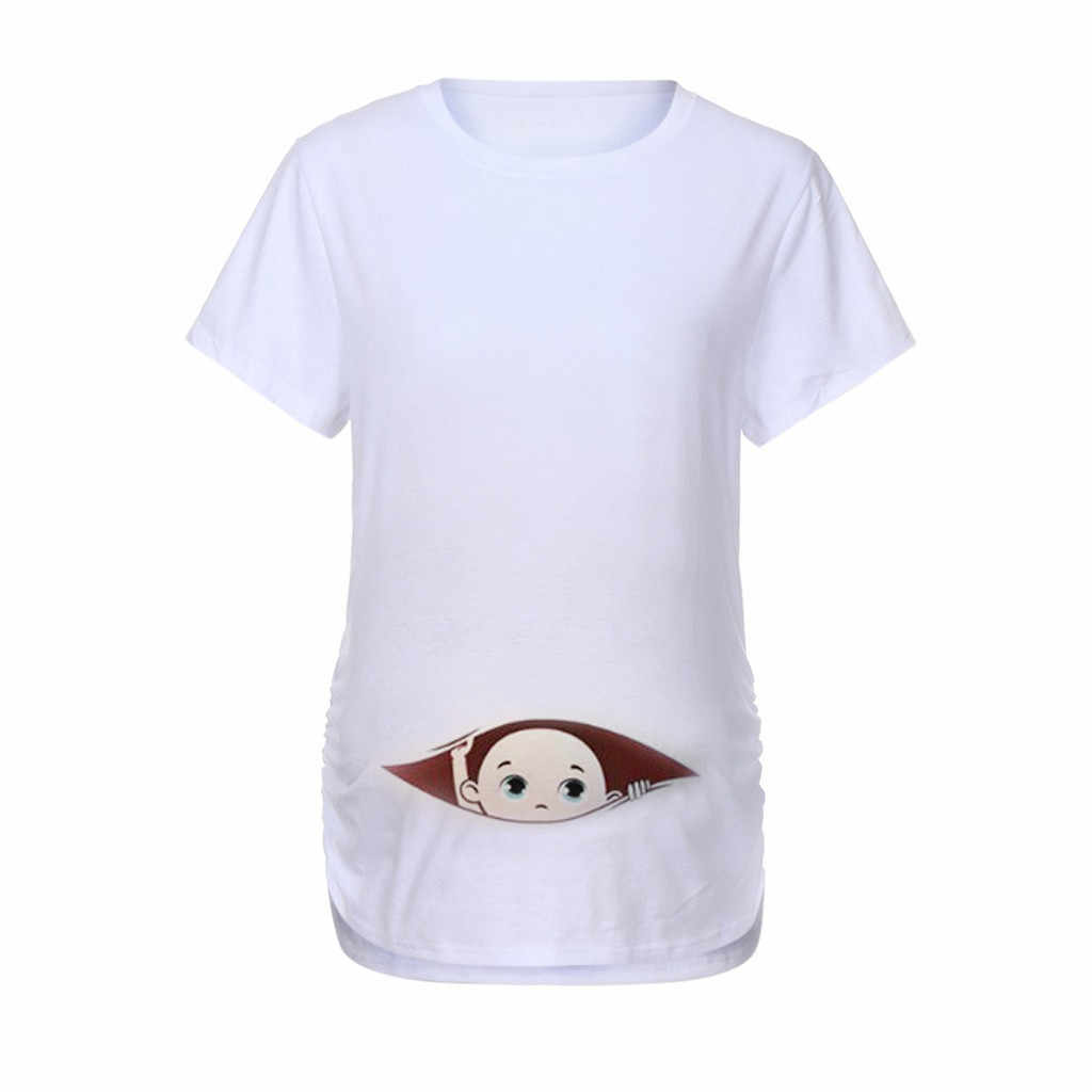 bc08c40ad Funny Pregnancy T Shirts For Pregnant Women Summer Tees Women T-shirts Slim  Cartoon Maternity