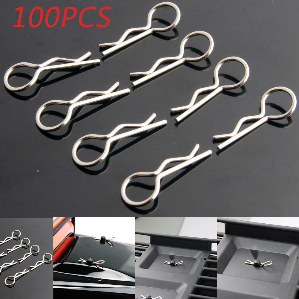 Automative lighting Parts 100 PCS Apex RC Products  Medium RC Car Truck Buggy Galvanized Steel Body Clips(China)