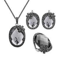 Joyería de moda Vintage Plateado Negro Rhinestone de La Flor Y Facetas Gris Conjunto de Joyas de Cristal Anillo Del Pendiente Del Collar