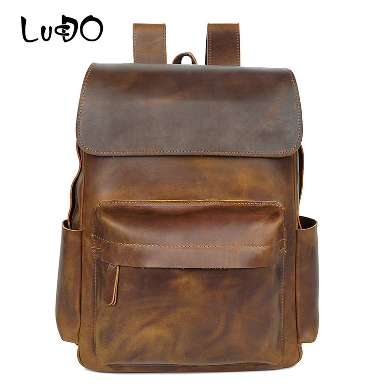 LUCDO Luxury <font><b>Genuine</b></font> <font><b>Leather</b></font> Men Women <font><b>Backpack</b></font> <font><b>Unisex</b></font> Vintage Retro Travel Bag Female Waterproof Outdoor Large <font><b>Backpack</b></font> Girls image