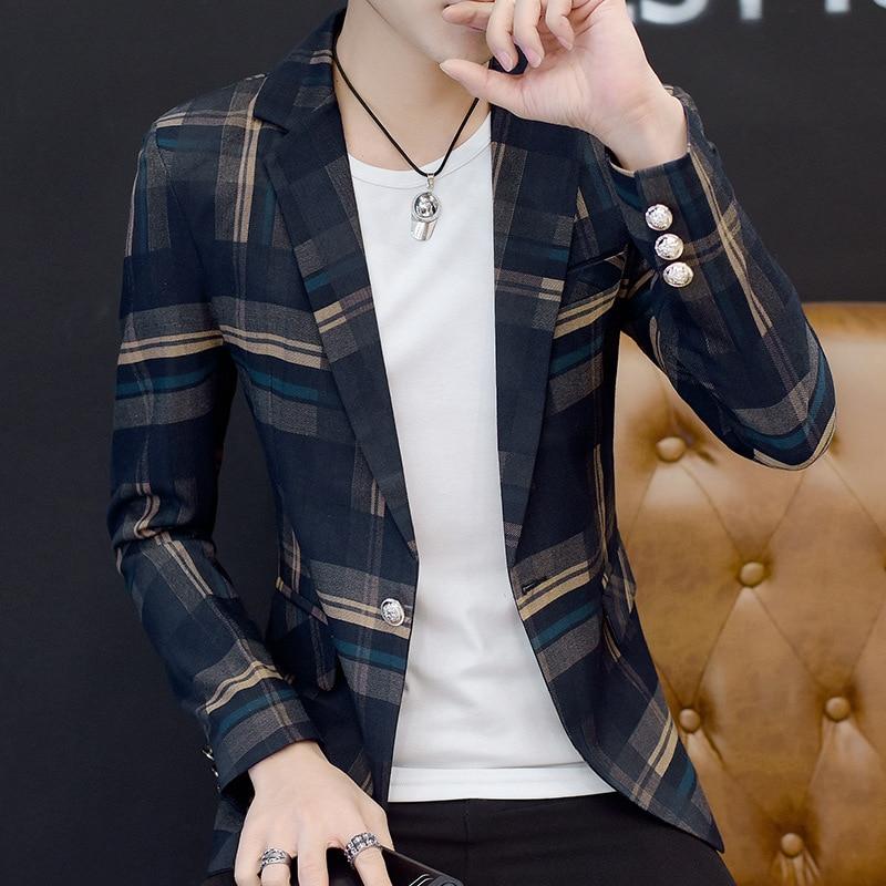 2018 youth leisure take blazer men checked blazer small blazer, fashion personality