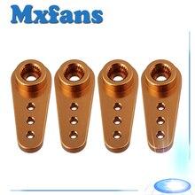 Mxfans 4pcs Gold 25T CNC Aluminium Alloy Metal Servo Horn Arm