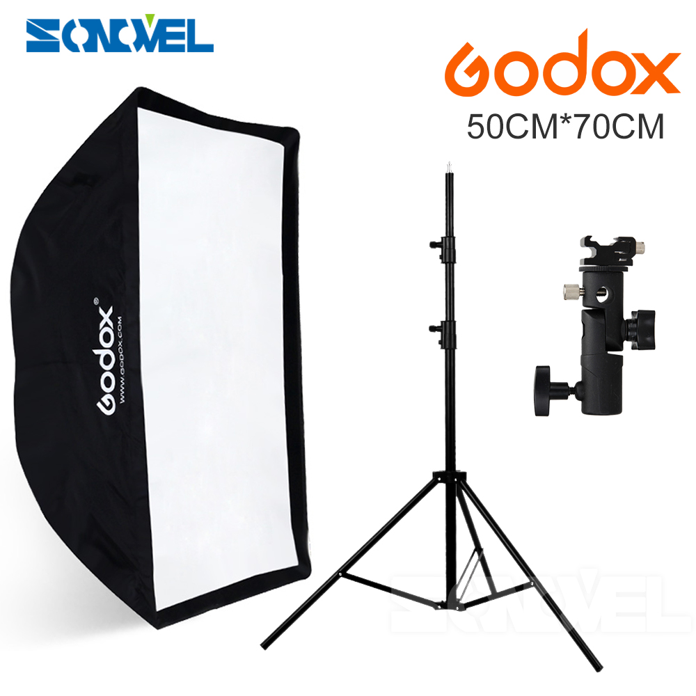 Godox Portable Softbox 50*70cm 20 * 27 Umbrella Softbox Reflector+Flash hot shoe bracket Light Stand kit for Speedlight