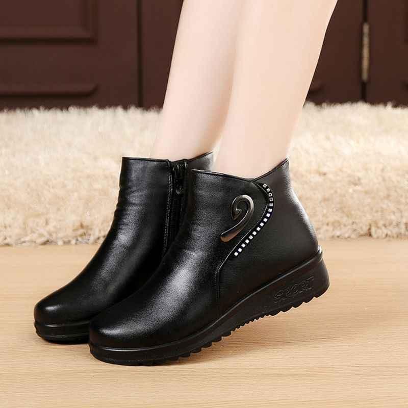 ZZPOHE אמא חדשה חורף אופנה נעלי כותנה מגפי שלג חם קשמיר בגיל העמידה נשים בהריון גודל גדול מגפי כותנה שטוחה