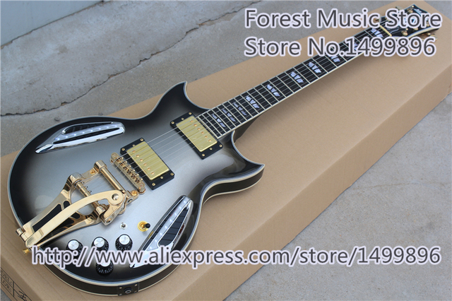 Cheap China OEM Custom Shop Silverburst Finish Electric Jazz Guitar With Glod Hardware Free Shipping