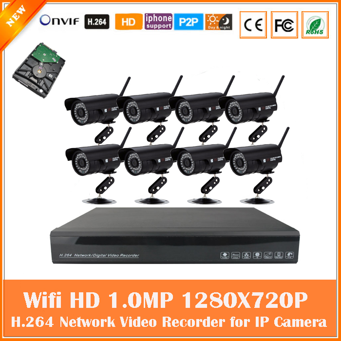 Hd 8ch Wifi Wireless Cctv Camera Kit Security Surveillance System 720p Nvr Motion Detect Outdoor Waterproof Bullet With 1tb Hdd free shipping 700tvl 8ch hd ir cctv security camera system security outdoor waterproof camera security surveillance system kit