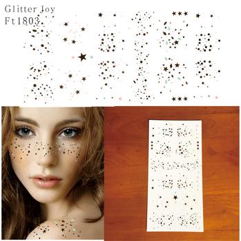 FT1803 złoto i srebro rozproszone gwiazda i punkty brokat piegi makijaż tatuaż naklejki który jest nowy sposób noszenia brokat tanie i dobre opinie GlitterJoy Farba ciała GLUE