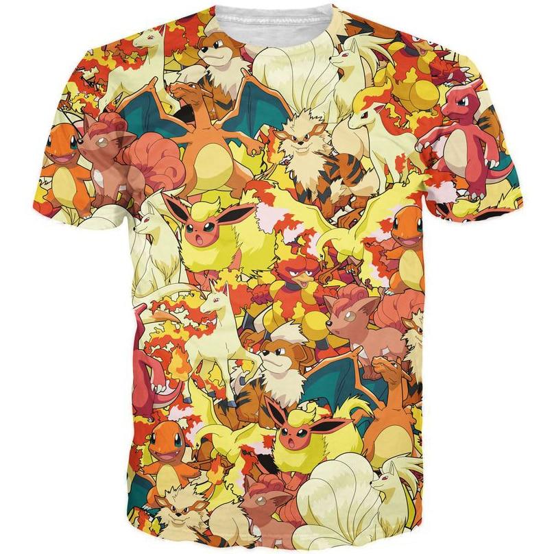 Men Women Hipster 3D t shirt Cute Cartoon Pokemon shirt tees Funny Pikachu Print t shirts Anime tshirts Tops