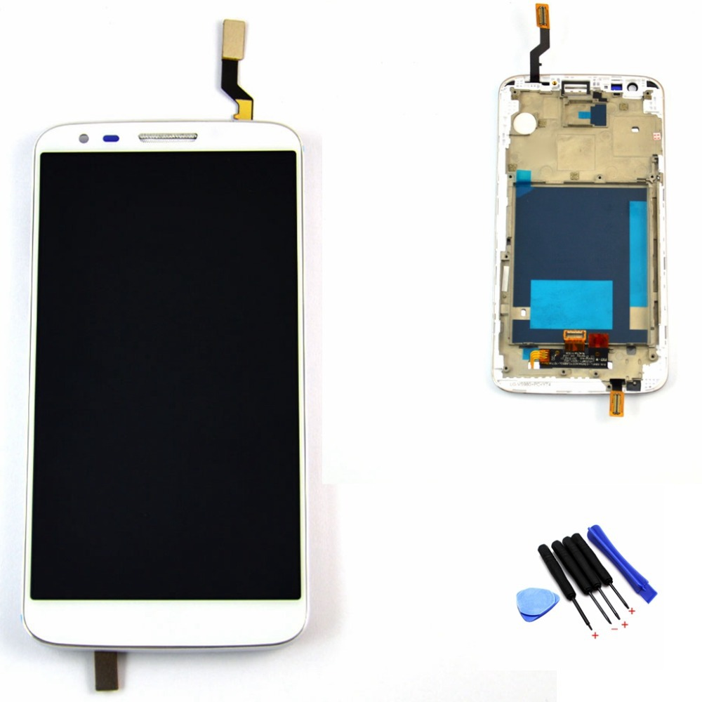 ФОТО White lcd For LG Optimus G2 VS980 LCD Display Touch Screen with Digitizer Assembly Bezel Frame with