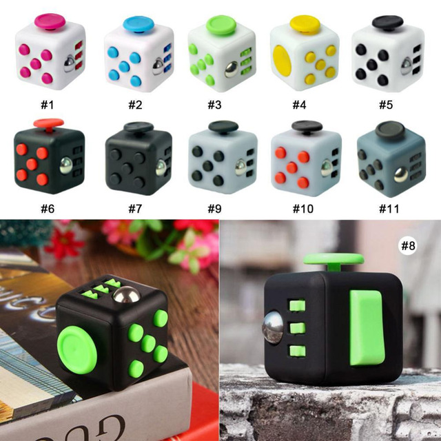 11 Types 3.3cm Fidget Cube Toys A Vinyl Desk Toys For Girl Boys Chrismtas Gifts Fidget Cube Black Green Red Toys Cube dropseller
