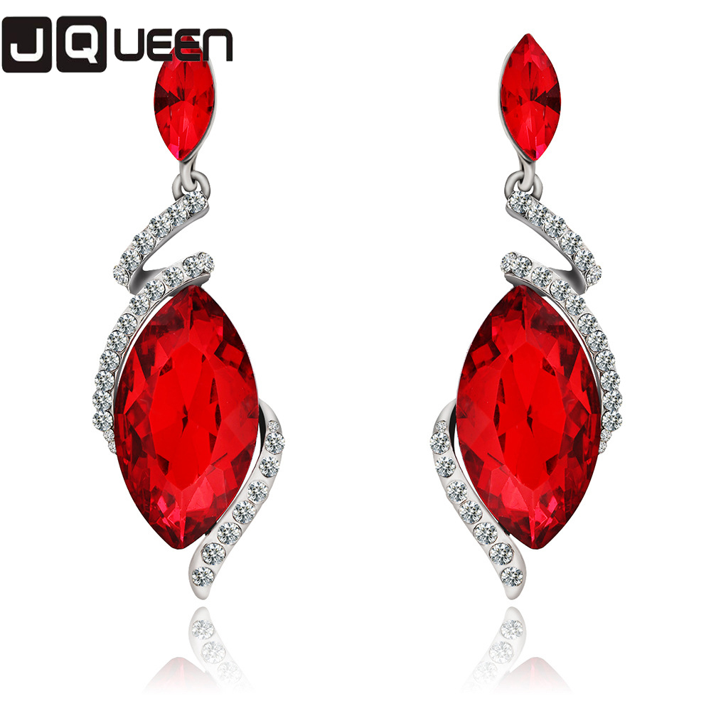 1 Pair Red Crystal Long Dangle Earrings Geometric Sparkly Rhombus Design Young Style Jewelry Alloy Plated 2 Color Available In Drop From